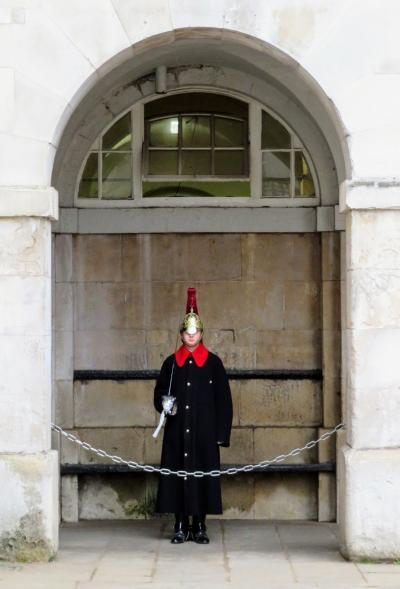 This is a member of the Queen's ceremonial guard. We didn't take any funny photos... just look at this guy! He had a sword! Ironically, (and nonsenically), he was much scarier-looking than the guy just down the street with an automatic rifle.