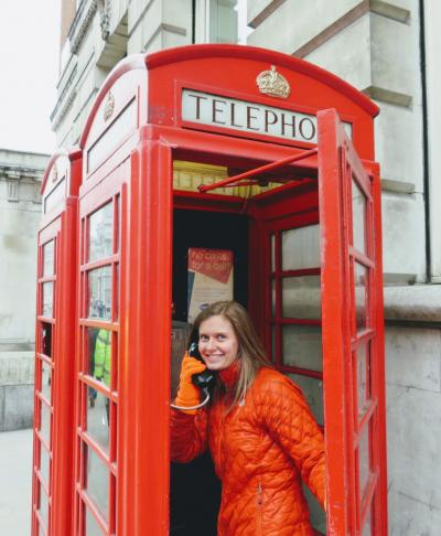 "London has this way of gracefully blending the modern with the historical. For example, many of these telephone booths are now wifi hotspots. When we were taking this photo, a local yelled ""Call the queen!"". But I just laughed and waved because I don't know Bey's number."