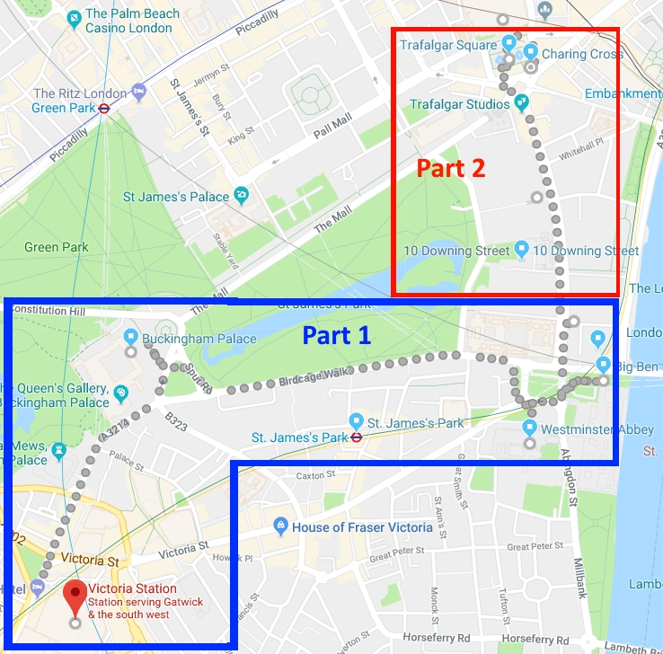 parts 1 and 2 of our walking tour of london part 3 will require a tube ride and separate map for a live map of this leg of the trip click here